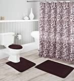 Better Home Style 16-teiliges Badezimmer-Set mit geprägtem Memory-Schaum, rutschfest, einfarbig, modernes Design, Deckelbezug, Duschvorhang & 12 Rollkugelhaken (Kaffee/Schokolade)