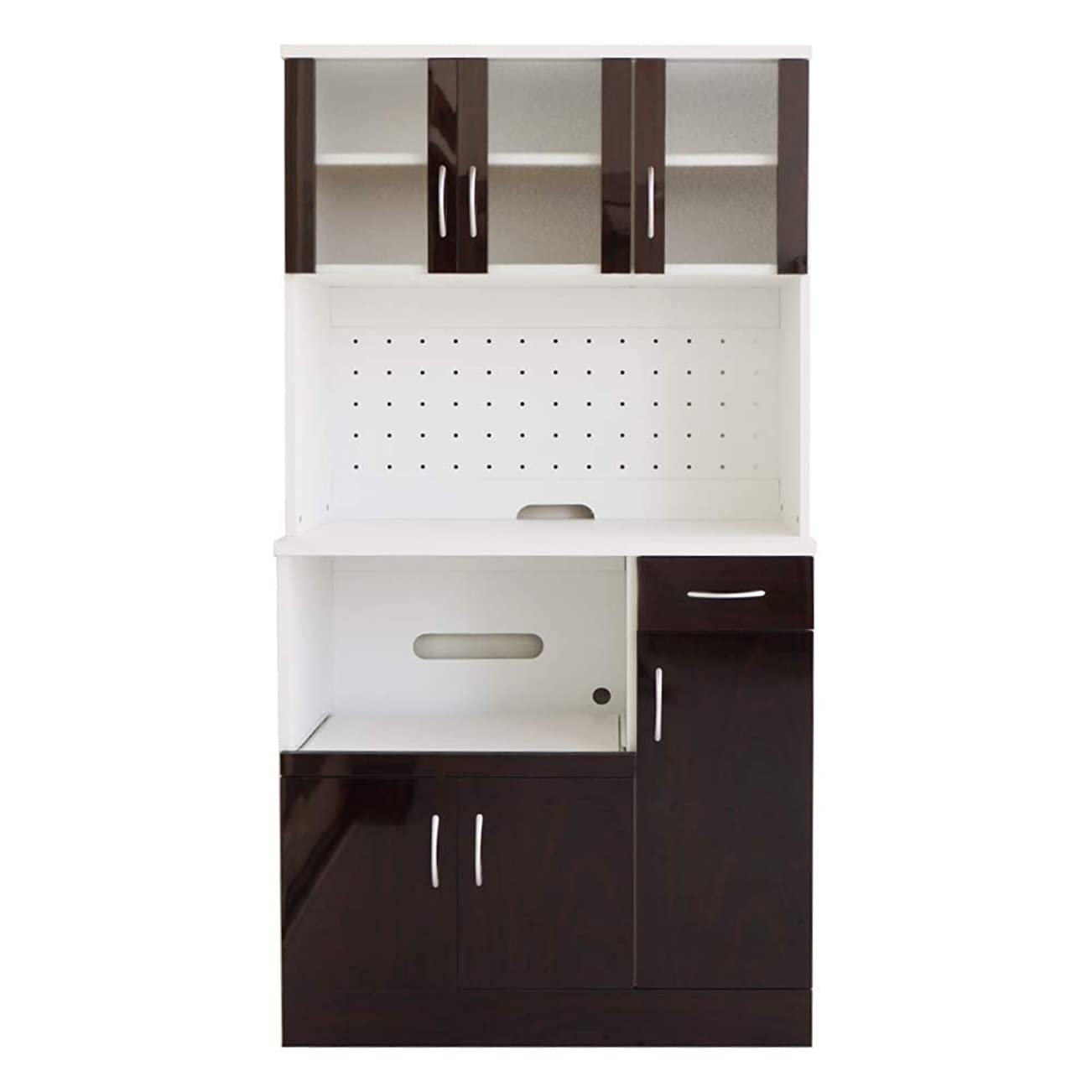 鷹負荷エスカレート高級感溢れる鏡面仕上げ キッチンボード レンジ台 レンジボード 食器棚 幅90cm ミラージュ (ブラウン) / スリム 木製 電子レンジ台 炊飯器 収納