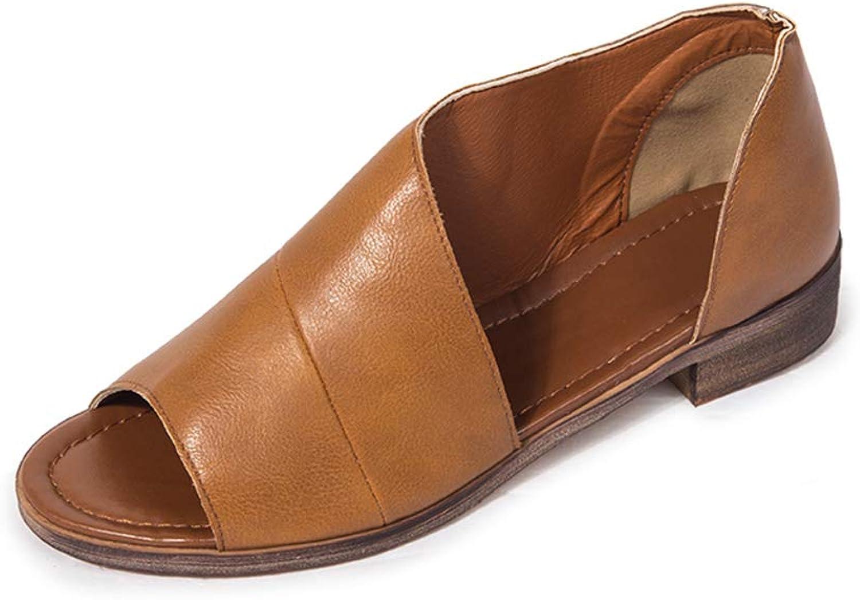 HEDDK Women Summer Sandals Casual Flat Sandals Monochrome shoes Open Toe Sandals Womens Flat shoes Plus Size 35-42