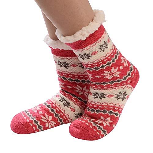 1Paar Christmas Bunte Socken Damen-Antirutschsocken Weihnachtsfrauen-Baumwollsocken Drucken Dickere Rutschfeste-Bodensocken Teppichsocken URIBAKY