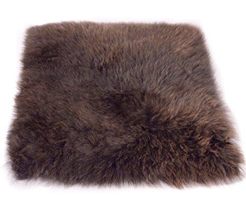 Zaloop Sitzkissen aus echtem Lammfell in versch. Farben und Größen auch medizinisch echt Fell (braun, ca. 40 x 40 cm)