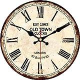 VIKMARI Reloj De Pared Vintage Movimiento De Cuarzo Relojes De Pared Silenciosos Sin...