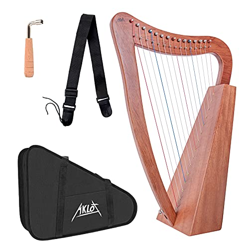 AKLOT Harp 15 Strings, Mahogany Harp 22 Inch Height for Adult Kids Beginner with Tuning Wrench Black Gig Bag Strap (International Standard Strings, No Spare String)