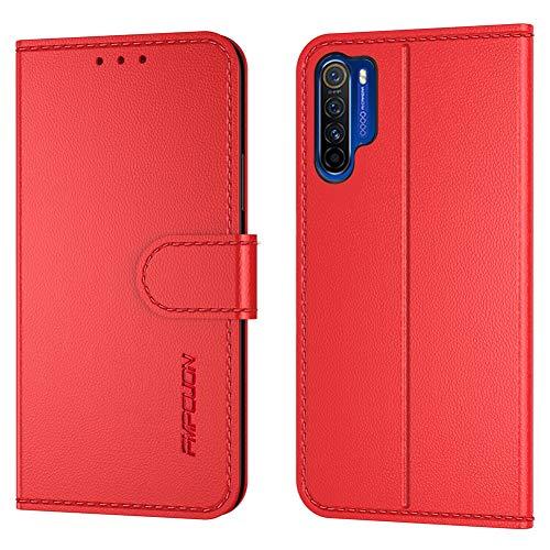 FMPCUON Handyhülle Kompatibel mit Oppo Realme X50 Pro(Neueste),Premium Leder Flip Schutzhülle Tasche Hülle Brieftasche Etui Hülle für Oppo Realme X50 Pro(6,5 Zoll),Rot