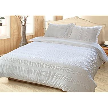 Merryfeel 100% Cotton Yarn Dyed Duvet Cover Set - King White