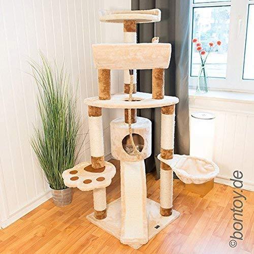 Bontoy Kratzbaum Lou Creme/Braun 145 cm mit großer Liegewanne 46cm und viel Platz zum Toben und Schlafen