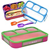Bizz Lunch Box Containers Set (2-Pack) with Reusable Spoon, 37-oz Fun Innovative Bento Boxes...