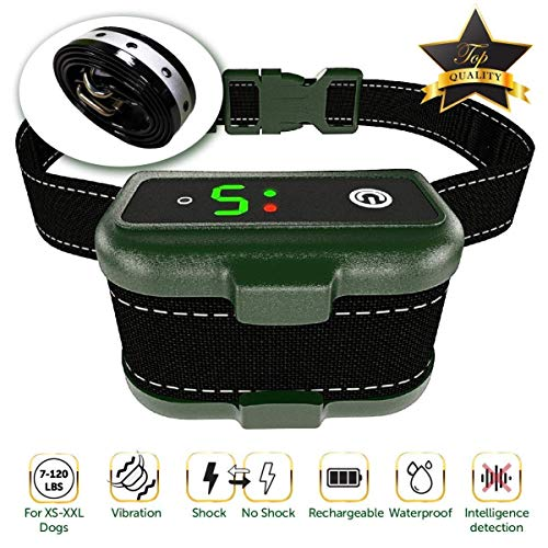 Bark Collar for Dogs - Effective K9 Professional Dog Bark Collar w/ Barking Detection - Rechargeable, Triple Anti-Barking Modes: Shock/ Vibration for Small, Medium, Large Dogs Breeds - IPx7 Waterproof