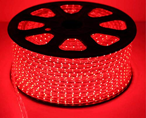 JXRY LED Strip Light Crystal Clear PVC Tubing for Durable Used and Brighter SMD 5050 60 LEDs per Meter Flexible RGB Strip Light 110V 220V Waterproof 100meter per roll Red Color