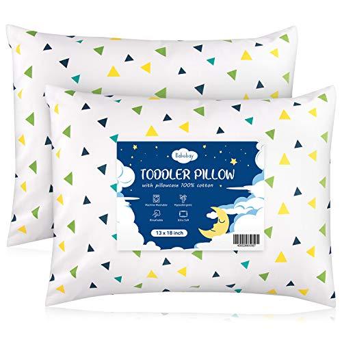 Babebay Kleinkind-Kissen mit Kissenbezug, 2 Stück, 33 x 45 cm, Kleinkind-Bettwäsche, kleines Kissen, Baumwollbezug für Unisex-Kinder zum Schlafen, buntes Dreieck, 2 Stück