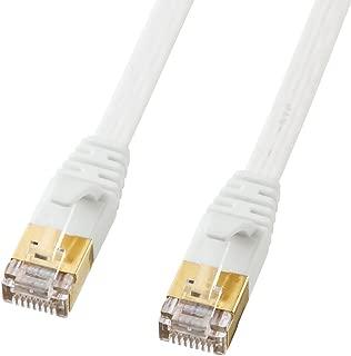 サンワサプライ CAT7ウルトラフラットLANケーブル (0.5m) 10Gbps/600MHz RJ45 ツメ折れ防止 ホワイト KB-FLU7-005W