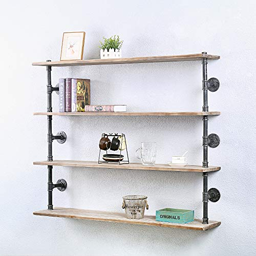Industrial Pipe Shelving Wall Mounted,36in Rustic Metal Floating Shelves,Steampunk Real Wood Book Shelves,Wall Shelf Unit Bookshelf Hanging Wall Shelves,Farmhouse Kitchen Bar Shelving(2 Tier)