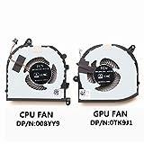 HK-PART Lüfter Ersatz für Dell XPS 15-9570 CPU GPU Kühler Fan Set TK9J1 08YY9