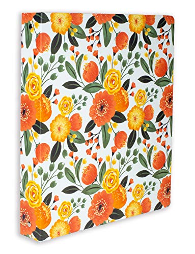 Steel Mill & Co Cute Decorative Hardcover 3 Ring Binder for Letter Size Paper, 1 Inch Round Rings, Colorful Binder Organizer for School/Office, Orange Floral