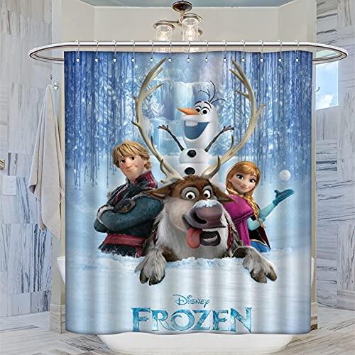 DRAGON VINES Die Eiskönigin Disney Animated Fantasy Movie Gardinen Prinzessin Anna & Elsa Olaf Kristoff waschbarer Duschvorhang dekorative Gardinen für Badezimmer Hotels 183 x 183 cm