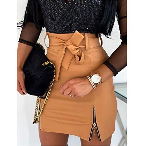 LJLLINGA Falda ceñida al Cuerpo de lápiz de Cuero PU Negro para Mujer, Minifalda Corta de Cintura Alta con...