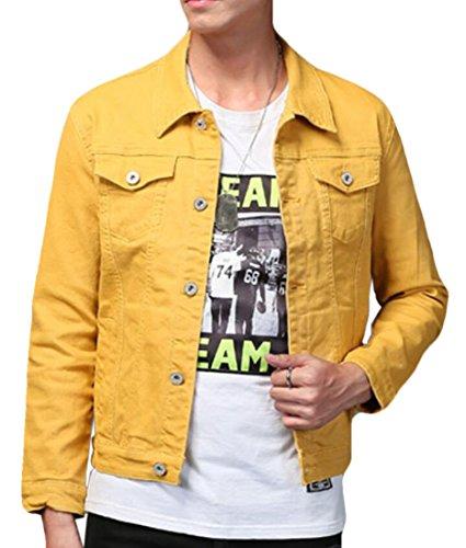 KLJR Men Slim Fit Denim Jacket Classic Button Down Trucker Jacket Yellow US S