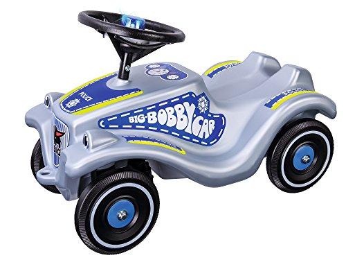 BIG-Bobby-Car Classic Polizei - Kinderfahrzeug mit Aufklebern im Polizei Design für Jungen und Mädchen, belastbar bis zu 50 kg, Rutschfahrzeug für Kinder ab 1 Jahr, silber
