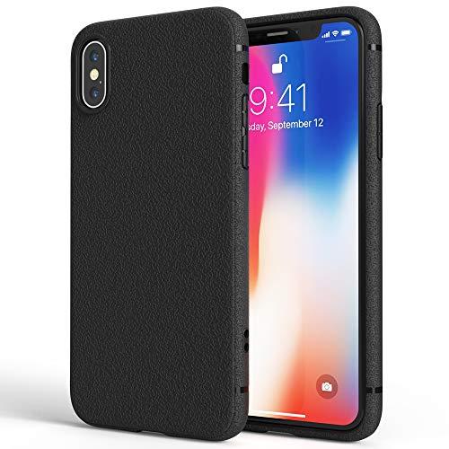 NALIA Leder-Erscheinungsbild Hülle kompatibel mit iPhone X XS, Ultra-Slim Handyhülle Silikon Hülle Cover, Dünne Smart-Phone Schutzhülle, Etui Handy-Tasche Back-Cover Bumper, TPU Gummihülle - Schwarz