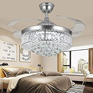 YUYUE 36-inch Invisible Ceiling Fan Chandelier with Light,Modern Crystal Ceiling Fan Light Remote Control 4 Retractable ABS Blades for Living Room Bedroom Dining Room Home Decoration