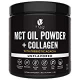 MCT Oil Powder with Collagen and Prebiotic Acacia - Pure MCT's - Perfect for Keto - Energy Boost - Nutrient Absorption - Appetite Control - Healthy Gut Support – Unflavored