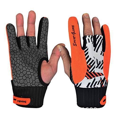 47-B Guantes de bolos resistentes al desgaste, guantes de silicona antideslizantes para el pulgar (color: naranja, tamaño: mediano)