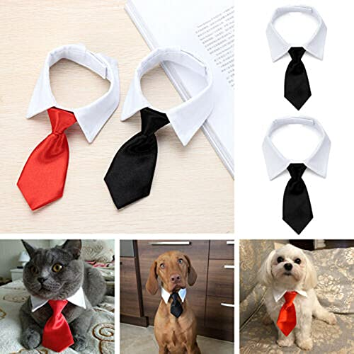 Bowtie for Little Puppy, Adjustable Pets Dog Cat Neck Ties Pet Necktie with Suit White Collar for Medium Small Dogs and Cat Tuxedo Costumes Pet Accessories