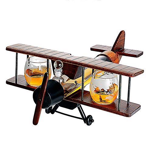 Juego De Decantador De Whisky con Forma AvióN, Set De Licorera Botella Whiskey Incluye Jarra De Vino De 1000 Ml, 2 Vasos Cristal 310 Ml Y Bandeja Madera, Decanter Wiski para Agua Licor Vodka