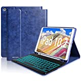 New iPad 7th Generation Case with Keyboard, iPad 10.2 2019 Keyboard Case Lightweight Magnetic Cover iPad Cases with Pencil Holder Wireless Backlit Keyboard for Apple iPad 10.2 Inch 7th 2019 bluetooth keyboard for androids May, 2021