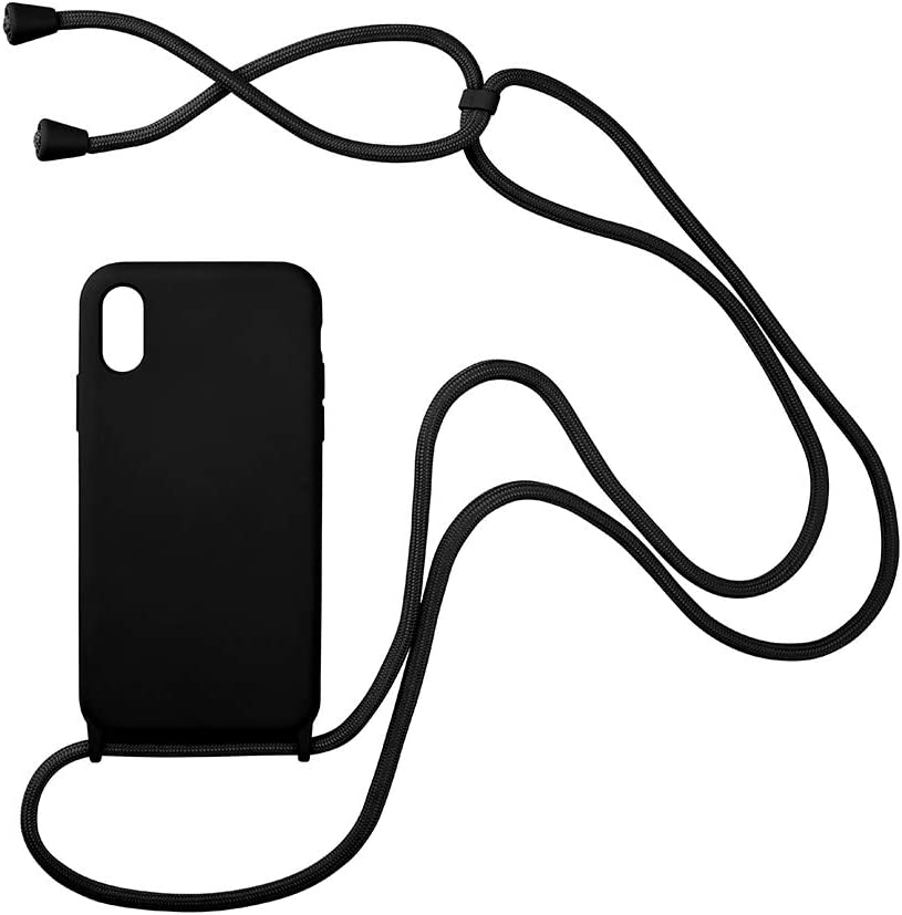 Arlgseln Soft Silicone Phone Case with Lanyard Strap, iPhone SE 2020 Crossbody Cover with Lanyard Necklace Shockproof Case for iPhone 7/8/SE 4.7 inch (Black)