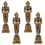 Indian Diwali Oil Lamp Pooja Diya Brass Light Puja Decorations Mandir Decoration Items Handmade Home Backdrop Decor Lamps Made in India Decorative Wicks Diyas Deep Laxmi Deepam Vilakku Set of 4 - Gold