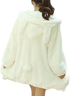 FOURSTEEDS Women Bear and Rabbit Ear Shape Coat Zipper Fuzzy Fleece Jacket Hooded Cardigan Coat