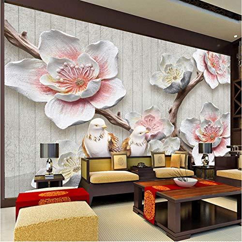 Fotobehang met 3D-fotobehang in Chinese stijl plum bloesem bird fotobehang wandsticker woonkamer studio thuisdecoratie wanddecoratie wandschilderijen 250x175cm