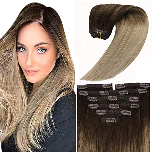 Sunny Ombre Clip in Hair Extensions Brown to Blonde Balayage Darker Brown to Light Brown and Ash Blonde Clip on Hair Extensions Balayage Real Remy Human Hair Ombre 18inch 100g/7pcs