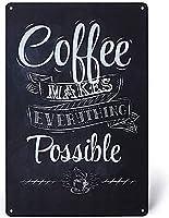 2個 コーヒーはすべてを可能にしますブリキサイン金属プレート装飾サイン家の装飾プラークサイン地下鉄金属プレート8x12インチ メタルプレート レトロ アメリカン ブリキ 看板