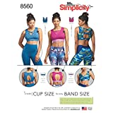 Simplicity US8560A Lined Women's Sports Bra Sewing Patterns, Sizes 30A-44G , Black