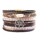 JAOYU Bracelet Cuir pour Femmes Fille Arbre de la Vie Bracelet Manchette Wrap Bangle Boho Bijoux Cadeaux Adolescentes