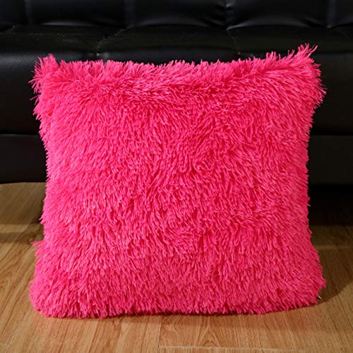 Lindsayii Plush Throw Pillow Covers, Solid Decorative Square Cushion Cover Soft Plush ThrowPillow Cases for Home Sofa Living Room Xmas Decor (Pink, 1 PC)
