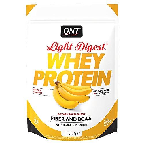 QNT Proteine del Siero di Latte con Fibre, Bcaa e Whey Isolate Gusto Banana - 0.5 kg
