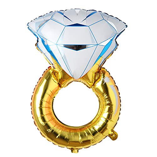 Big Balloon Gold Diamond Ring Foil Balloon Inflatable Wedding Decoration Helium Air Valentine's Day Balloon Event Party Supplies (Big Ring)