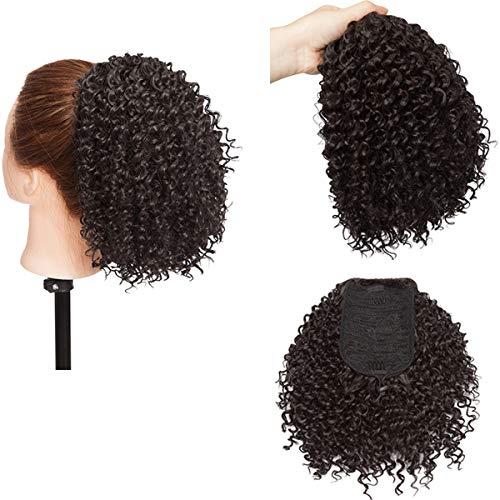 Afro Puff Queue de cheval Bouclés Postiche Extension de cheveux Synthétiques Draswing Ponytail Noir naturel