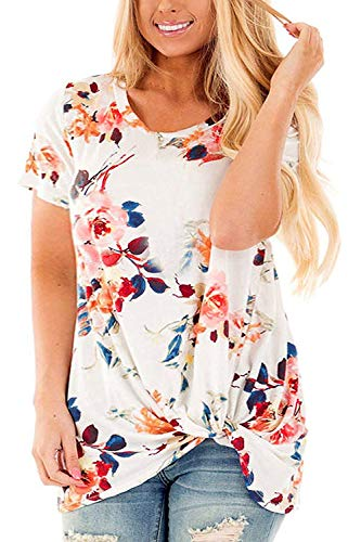 Womens Plus Knotted Tops Floral Print T Shirts Loose Casual Blouses Tunics D-26W