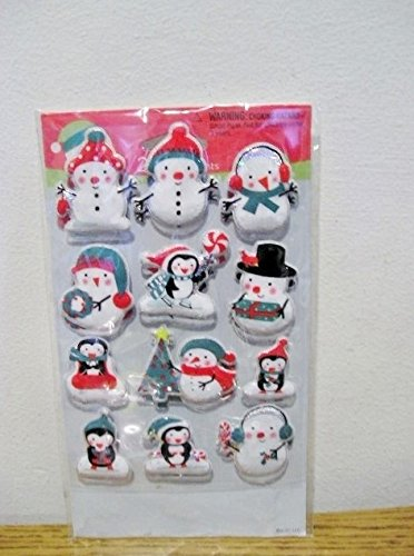 Stickety Doo Da Christmas Holiday Puffy Stickers - 24 Stickers Snowman Penguin