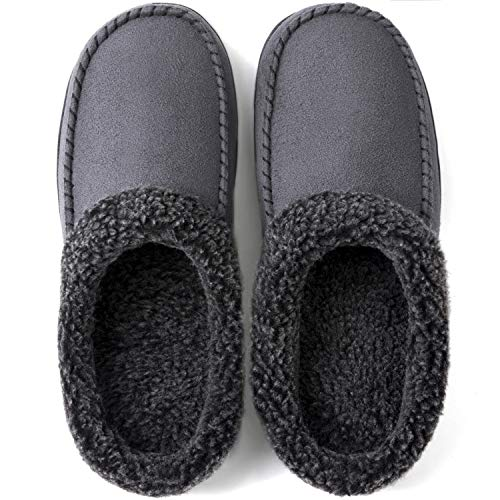 ULTRAIDEAS Men's Cozy Memory Foam Moccasin Suede Slippers with Fuzzy Plush Wool-Like Lining, Slip on Mules Clogs House Shoes with Indoor Outdoor Anti-Skid Rubber Sole(Dark Grey, 11-12)