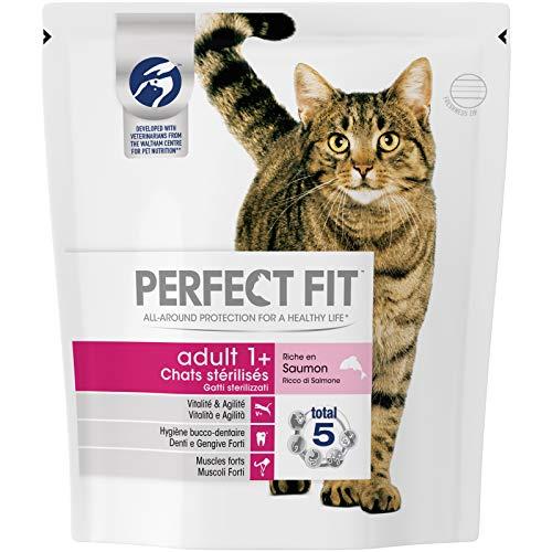 Perfect Fit Croquettes pour chat adulte stérilisé, riche en saumon, 6 sacs de 400g
