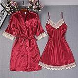 IAMZHL Talla Grande 3XL Kimono de Encaje Rojo para Mujer Conjunto de Albornoz Sexy Novia Dama de Honor Vestido de Bata de Boda Vestido de camisón Sexy Ropa de Dormir-Robe Set Burgudny-1-XXXL