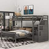 Twin Over Full Loft Beds, Bunk Beds Twin Over Full with Stairway and Storage, Full-Length Guardrail, No Box Spring Needed (Grey Twin Over Full Bun Beds)