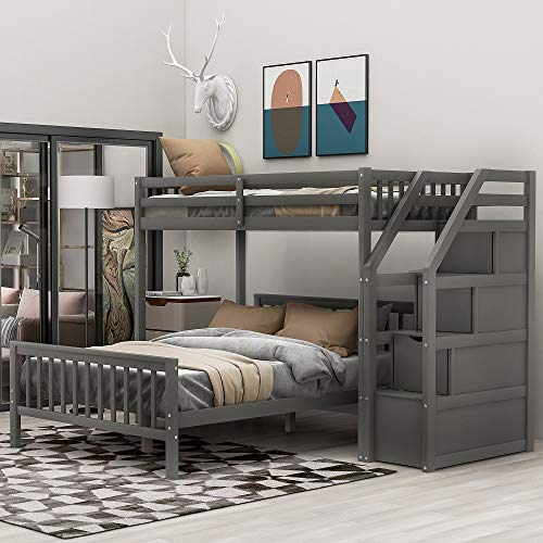 Twin Over Full Loft Beds, Bunk Beds Twin Over Full with Stairway and Storage, Full-Length Guardrail,...