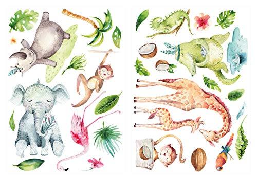 dekodino® Wandtattoo Aquarell Dschungeltiere Safari Tiere Wanddeko Set