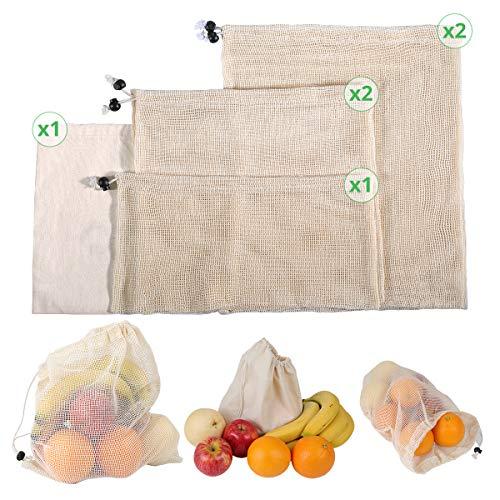 Brotbeutel 6er Set aus Bio Baumwolle - Obst- und Gemüsebeutel für Zero Waste mit Kordelzug Wiederverwendbare Masche Produzieren Taschen Obst-Beutel Gemüse-Netz Umweltfreundliche Einkaufstaschen